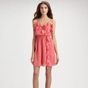 Milly Pink Silk Stephanie Ruffle Dress Size 8 $375